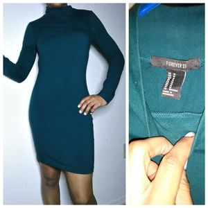 Ever green forever 21 long sleeve bodycon dress